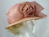 Debenhams Hat Box Coral and Pink Occasion Hat
